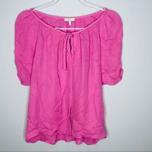 JOIE Silk Flutter Sleeve Blouse Tunic Large Pink